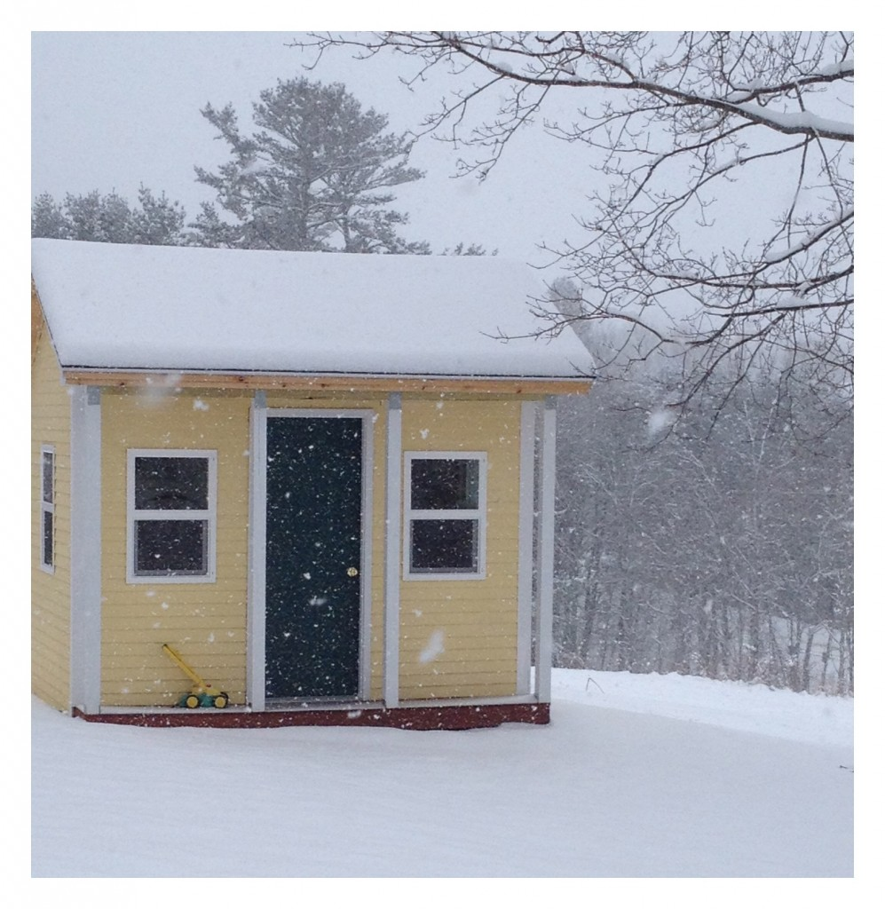 Beginnings of the blizzard on our playhouse.