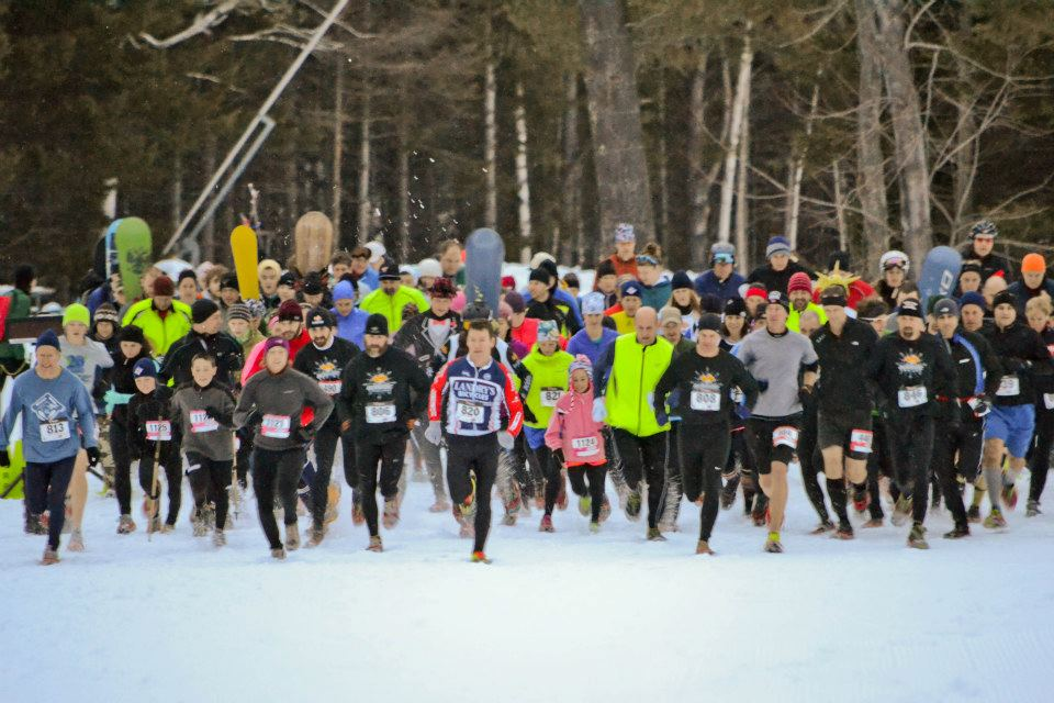 Mass start of the Winter Wild Mountain Race at Mt. Sunapee